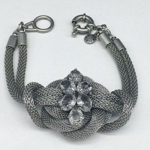 J CREW Clear Rhinestone Silver Knot Bracelet JCREW